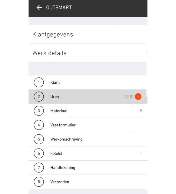 Workflow in de OutSmart app